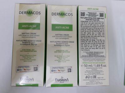 Kem kháng khuẩn ngừa mụn và giảm bóng nhờn DERMACOS ANTI ACNE MATTING CREAM 50ML