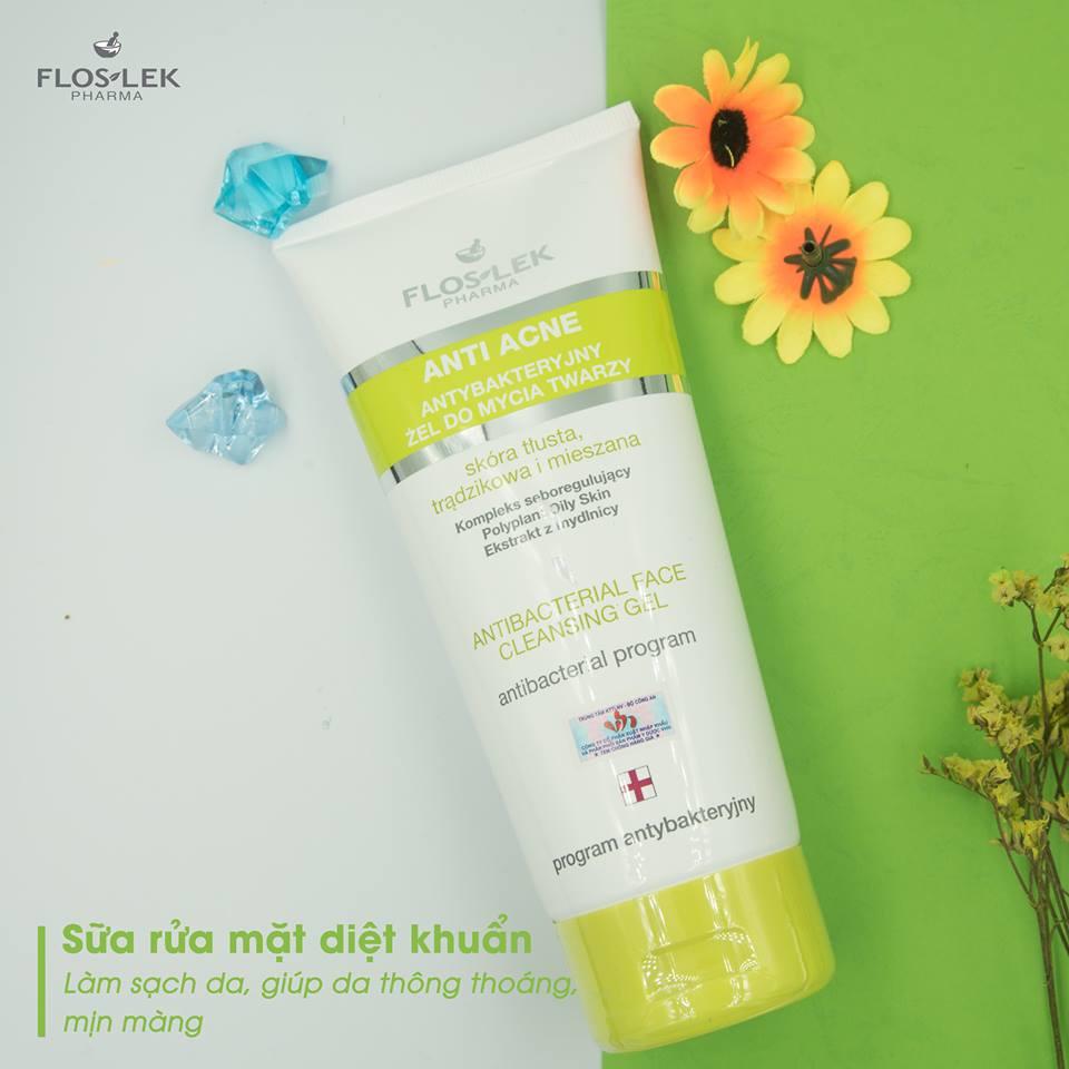 Sửa Rửa Mặt Diệt Khuẩn Ngừa Mụn Floslek Antibacterial Face Cleansing Gel 200ml