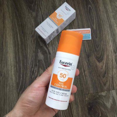 Kem Chống Nắng Kiểm Soát Nhờn Cho Da Dầu Mụn Eucerin Sun Gel Creme Oil Control Dry Touch SPF50 50 ml