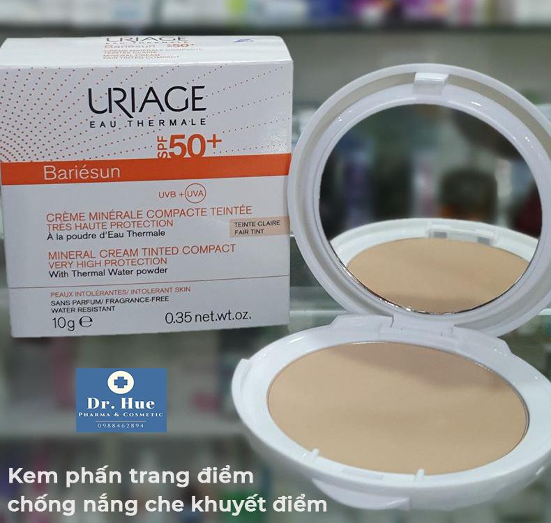 Kem Phấn Trang Điểm Bằng Bột Khoáng Chống Nắng Che Khuyết Điểm Uriage Bariésun Mineral Cream Tinted Compact Very Hight Protection SPF50
