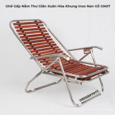 Ghế Gấp Nằm Thư Giãn Xuân Hòa Khung Inox Nan Gỗ GN07-2