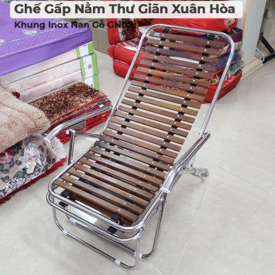 Ghế Gấp Nằm Thư Giãn Xuân Hòa Khung Inox Nan Gỗ GN07-5