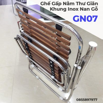 Ghế Gấp Nằm Thư Giãn Xuân Hòa Khung Inox Nan Gỗ GN07-8